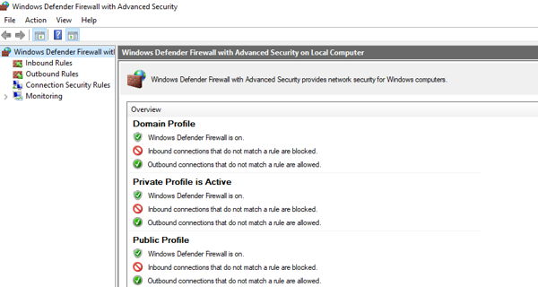 Disable Windows defender firewall