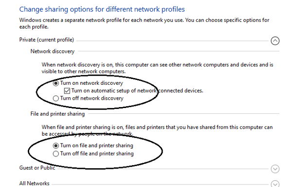 Check advanced network options