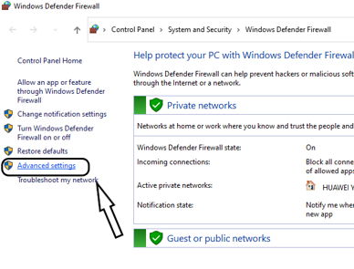 Firewall advanced settings