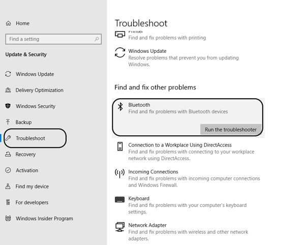 Bluetooth troubleshooting