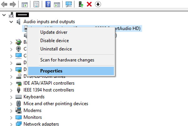 Audio Driver list in Device Manager